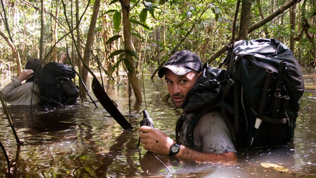 On day 315 of Stafford's trek along the Amazon, he encounters a flooded forest near Pevas, Peru.