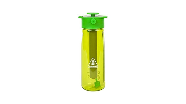 Lunatec Aquabot pressurizes your water bottle to spray a stream or mist of water.
