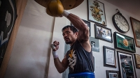 Manny Pacquiao trains at the Wild Card Boxing Club in Hollywood, California on March 19, 2015.