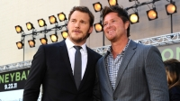 Chris Pratt and Scott Hatteberg, former Oakland A's Player, arrive at the premiere of Columbia Pictures' 'Moneyball.'