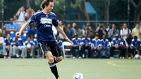Steve Nash plays in the Showdown in Chinatown soccer match in New York City.