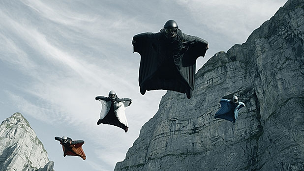 """""""I was like, 'Oh, man, are you guys sure you want to put that in the movie? My wife is going to kill me! Of course, I knew the second I did it makes the film."""" - BASE jumper Jon Devore on the five-man wingsuit jump, perhaps the most epic stunt in all of cinematic history."""