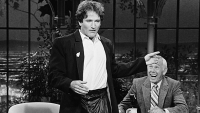 Robin Williams makes an appearance on The Tonight Show with Johnny Carson, October 14, 1981.