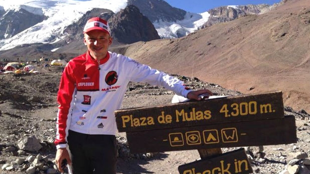 Karl Egloff at the start and finish point of the Aconcagua summit route.