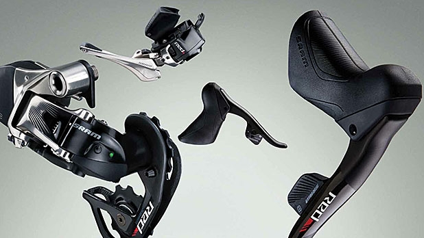 SRAM's Red eTap electronic shifters communicated wirelessly with the derailleurs/