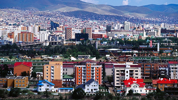 The view of Ulaanbataar from the Zaisan Monument.