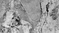 Rock climbers Dean Caldwell, left, and Warren Harding continued their attempt to climb El Capitan in Yosemite after refusing plans to rescue them, Nov. 14, 1970.