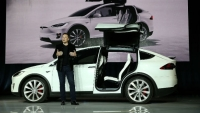 Elon Musk introduces the Tesla Model X and its bioweapon defense mode.