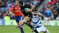 All Blacks flanker Victor Vito breaks a tackle during a 2012 test match against Scotland.