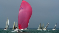 Jolene II leads the way in the J/109 class during day two of the Aberdeen Asset Management Cowes Week on August 12, 2012 in Cowes, Isle of Wight.