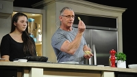 Chef Robert Irvine conducts a culinary presentation at KitchenAid stage at the Grand Tasting during the Food Network New York City Wine & Food Festival, October 19, 2014.