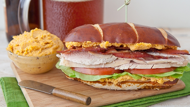 Turkey And Beer Cheese BLT On Pretzel Bread