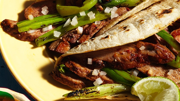 Joe Hargrave uses traditional red chili sauce on grilled steak to boost the meat's flavor.