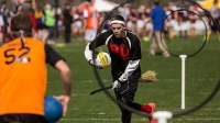 member of the Boston University team runs toward the hoop during the Quidditch World Cup on April 5, 2014 in Myrtle Beach, South Carolina.