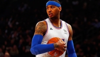 Carmelo Anthony wears compression sleeves at the 2015 NBA All-Star Game at Madison Square Garden on February 15, 2015 in New York City.