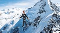 Nock tightroped above a ridge on the highest mountain in the eastern Alps.