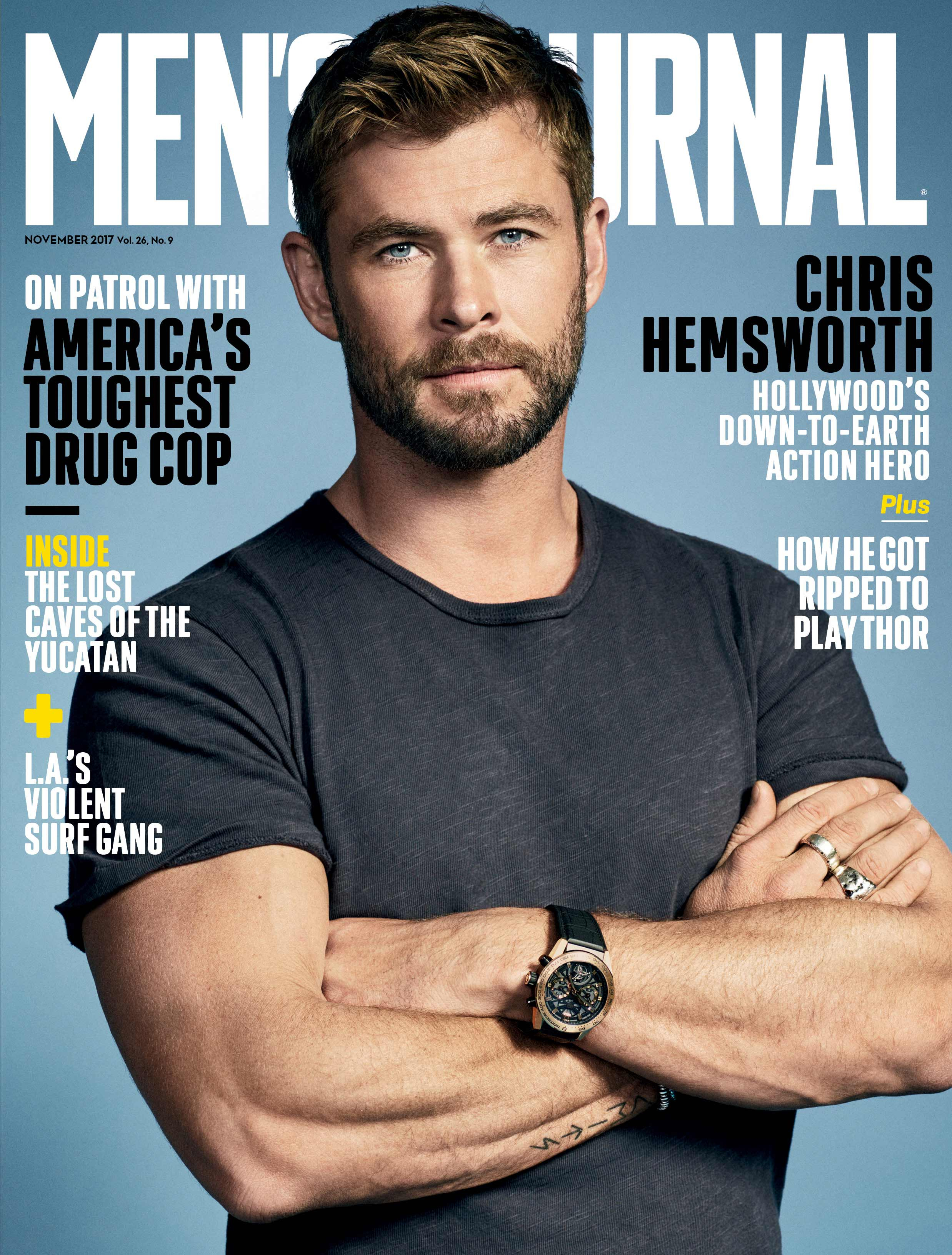 Men's Journal November Cover Image with Chris Hemsworth