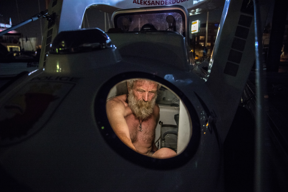 Staging his fully loaded kayak in the Libery Yacht Club marina, Aleksander 'Olek' Doba spent his final night in a hotel with his wife before his departure the next day, New Jersey.  Saturday May 28, 2016.  Photo/David Jackson