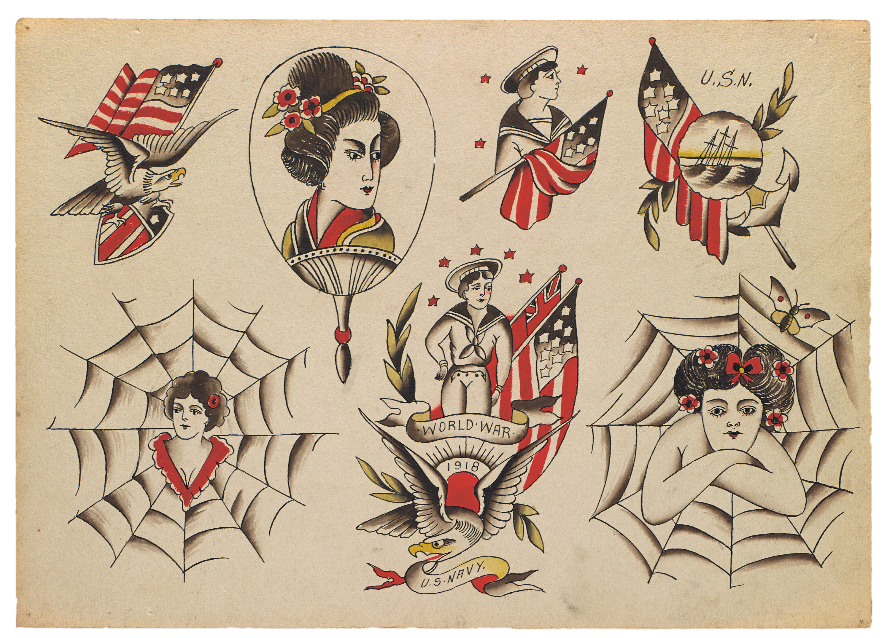 The pieces in Vintage Tattoo Flash come from the last century, but the  highest concentration of work is from the 1900s to the 1960s.